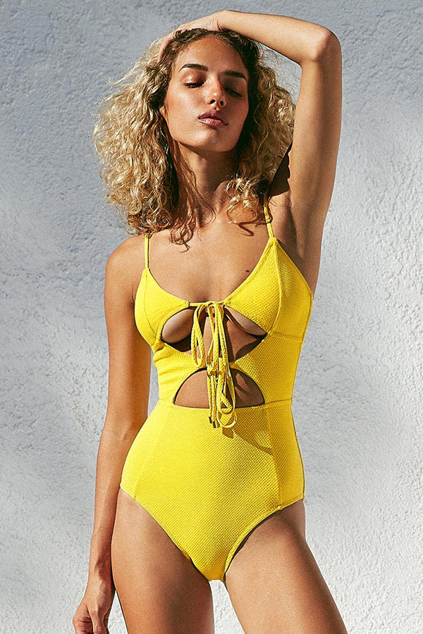 Yellow Cutout One-Piece Swimsuit