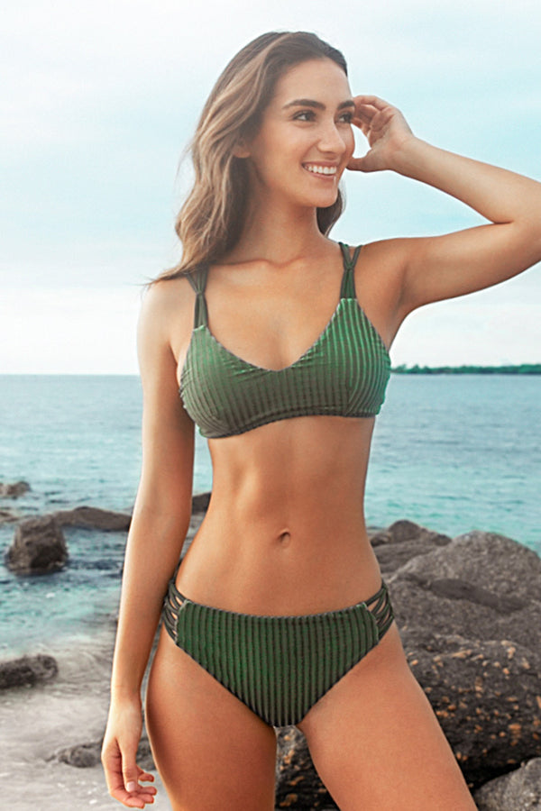 Green Smocked Strappy Bikini