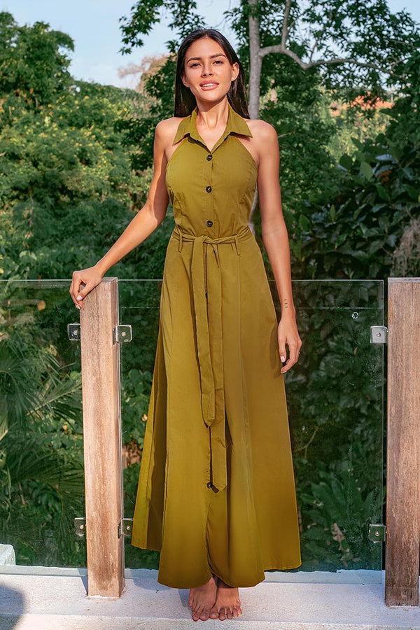 Olive High Neck Maxi Dress