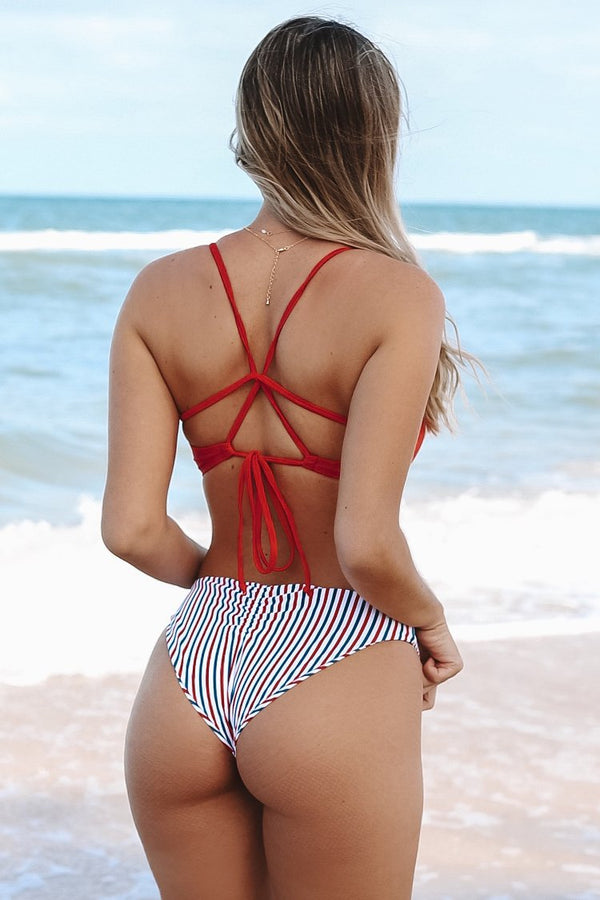 Red White And Blue Strappy Bikini