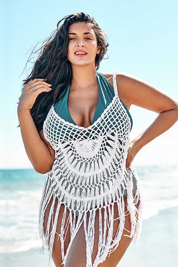 White Crochet Plus Size Cover Up