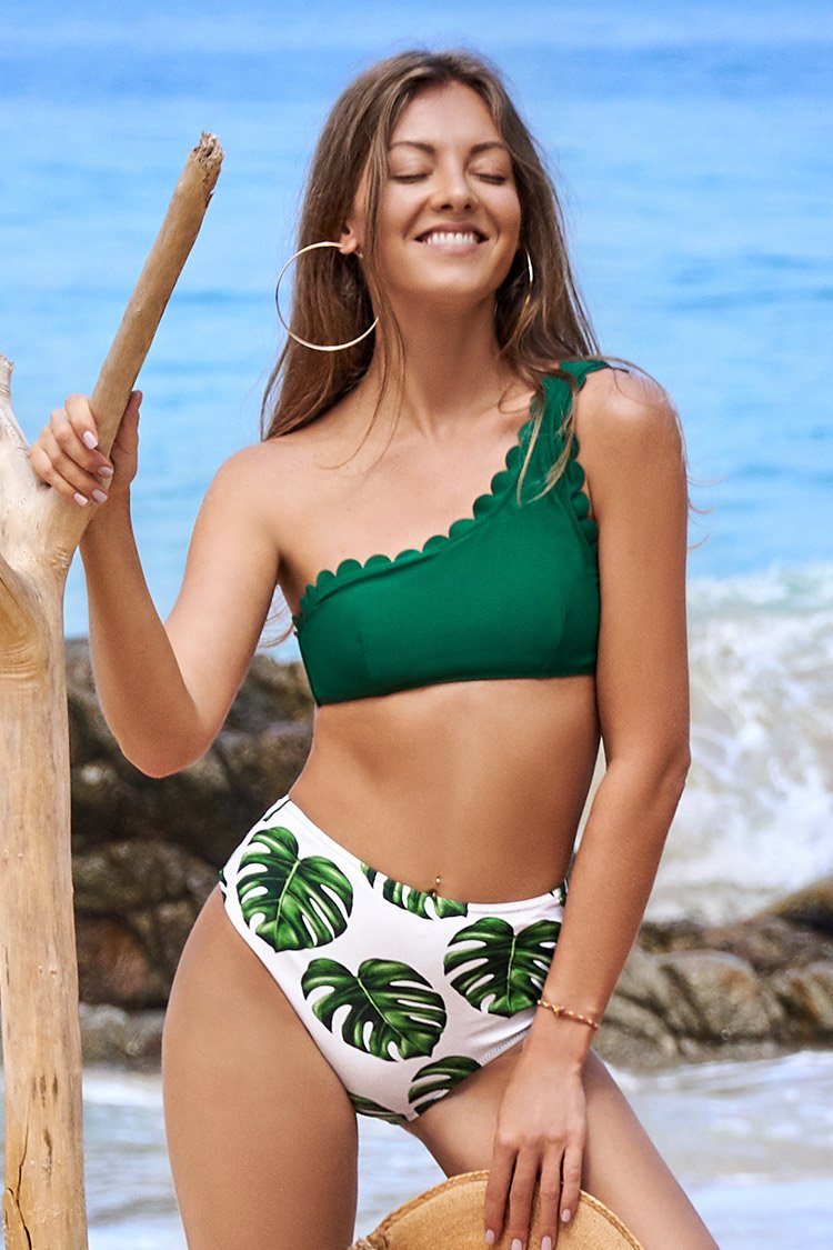 Green Scalloped One Shoulder Bikini