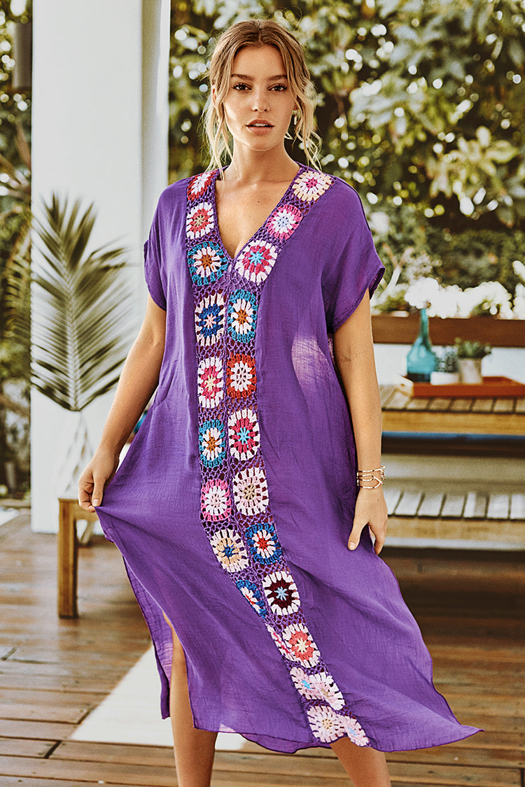 Purple Maxi Cover Up with Colorful Crochet