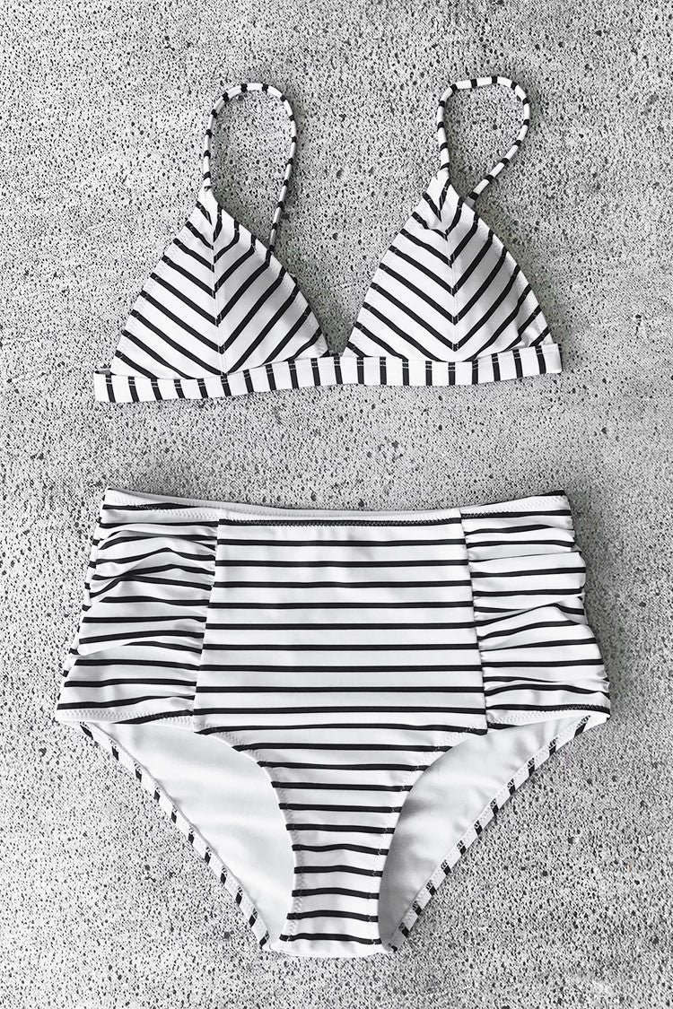 Cupshe Dare the Sea Stripe Bikini Set
