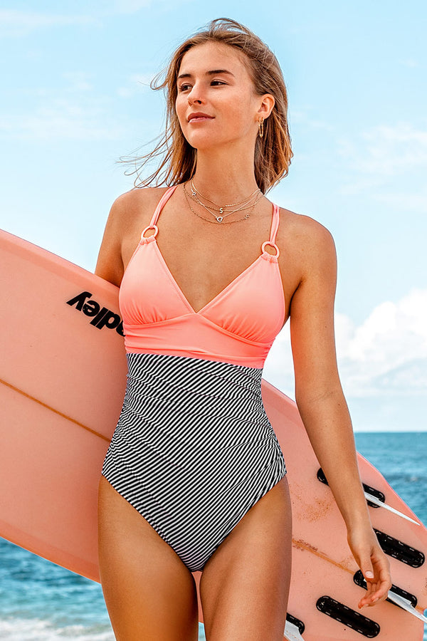 Peachy and Striped One Piece Swimsuit