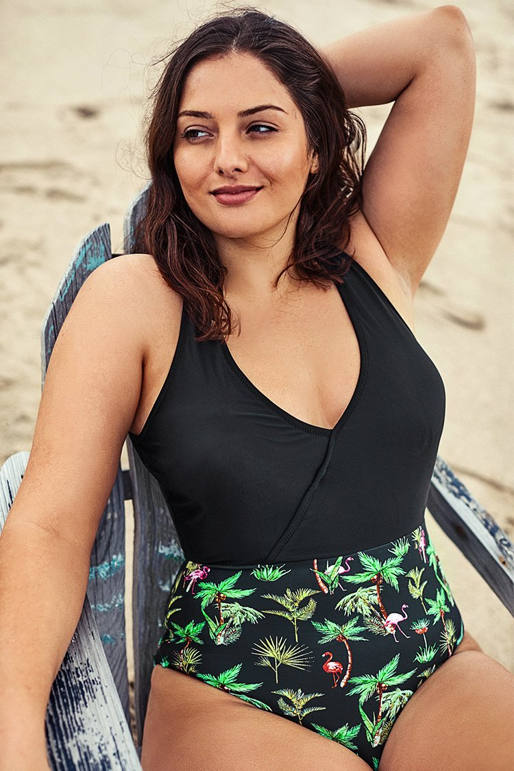 Palm Tree Print Plus Size One Piece Swimsuit