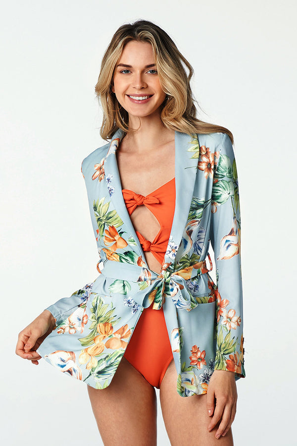 Blue Floral Cover Up Blazer