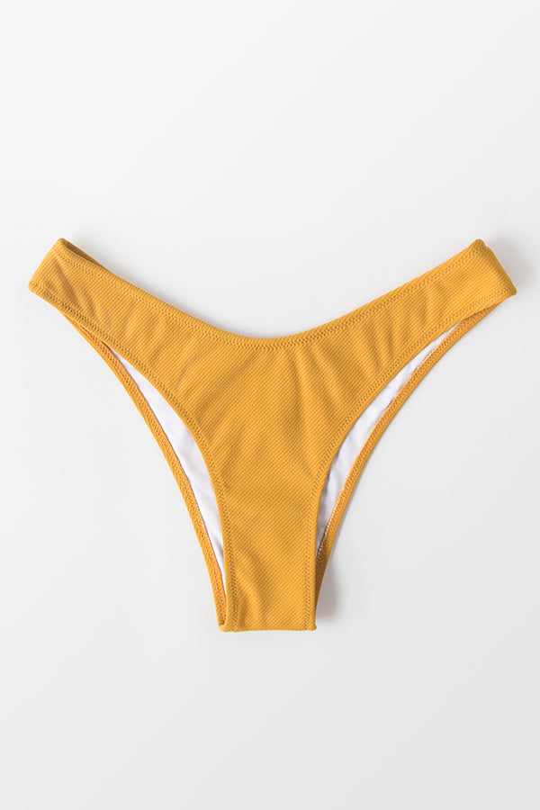 Yellow Low Rise Cheeky Bikini Bottom