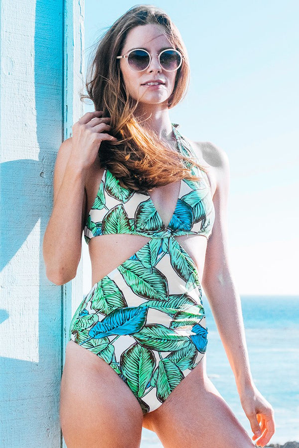 Green Scene Print One-piece Swimsuit