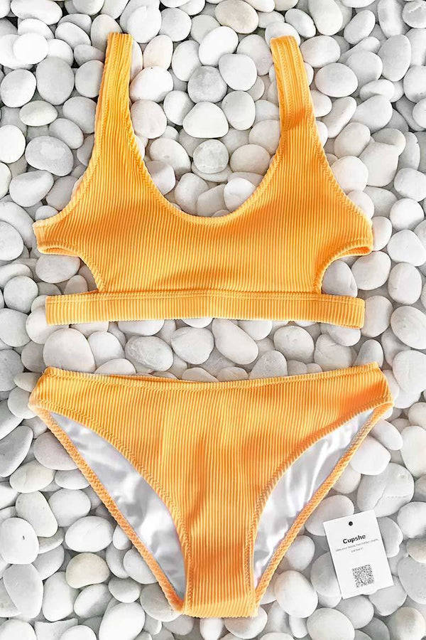 Feather Yarn Solid Bikini Set