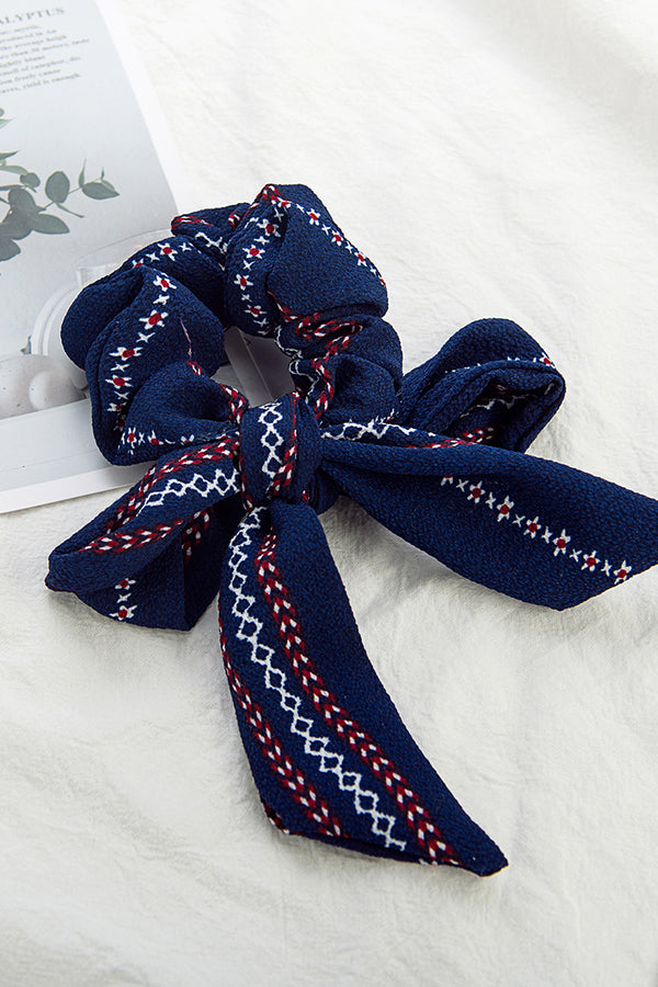 Navy Blue Print Bowknot Hair Tie