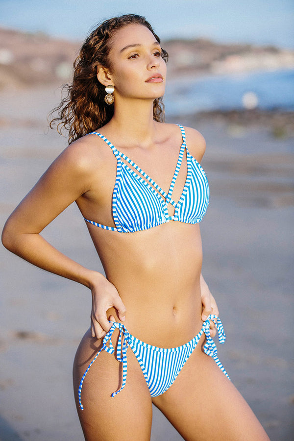 Blue Striped Triangle Bikini