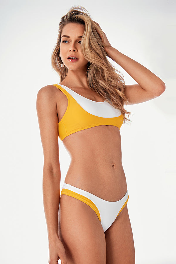 Yellow And White Colorblock Sporty Bikini