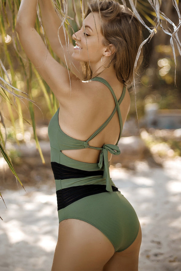 Olive Green Back Tie One-piece Swimsuit
