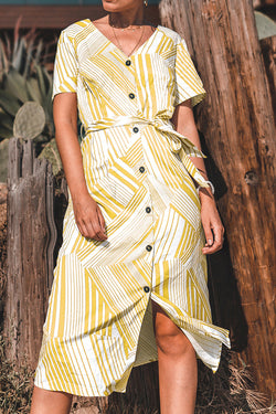 Yellow Geometric Stripe Midi Dress