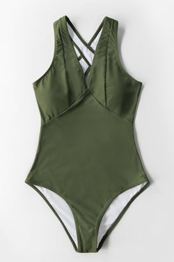 Olive Green V-Neck One-Piece Swimsuit