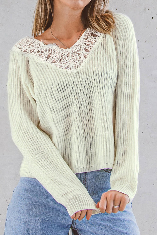 White Lace V-Neck Sweater