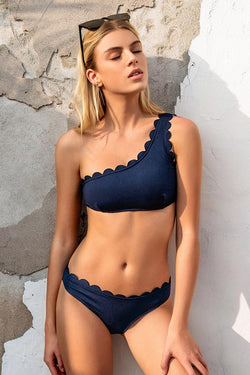 Miss The Past One Shoulder Bikini Set