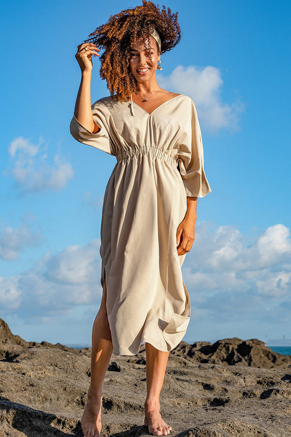 Ivory Shirred Midi Dress