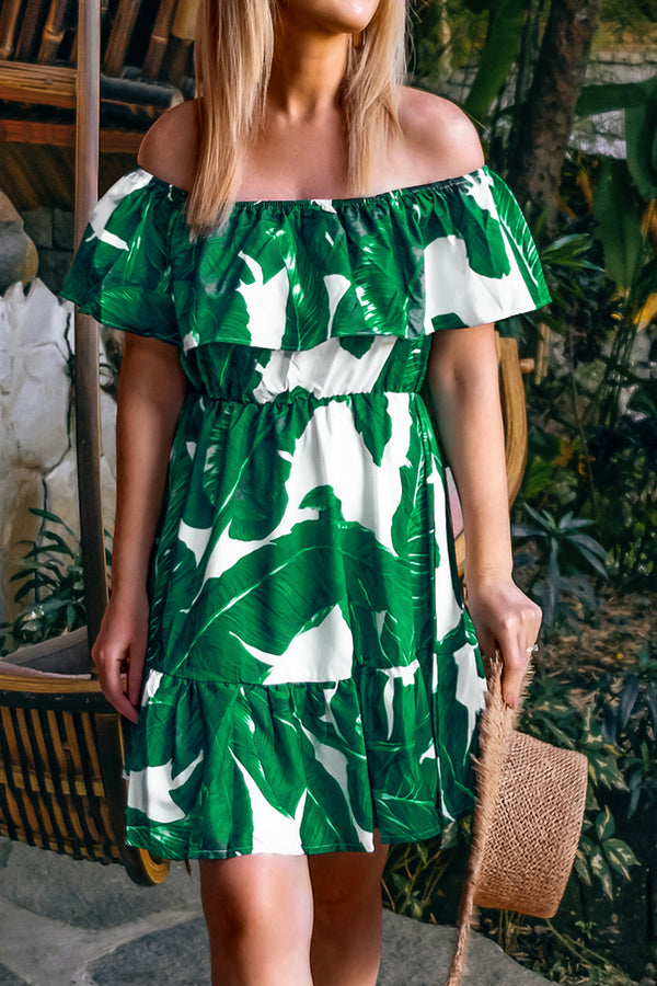 Palm Print Off-the-Shoulder Ruffle Dress