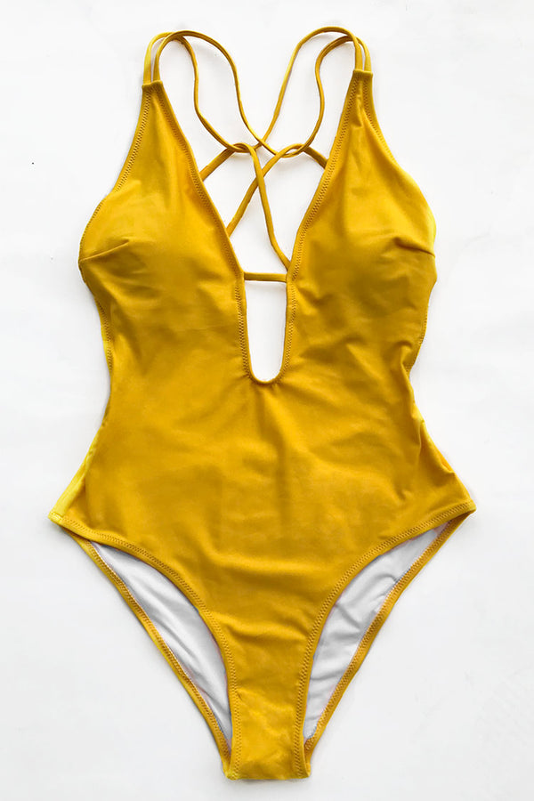 Sunshine Zone Solid One-piece Swimsuit