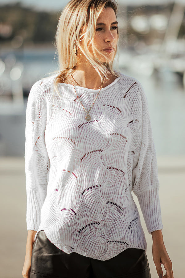 White Round Neck Textured Sweater