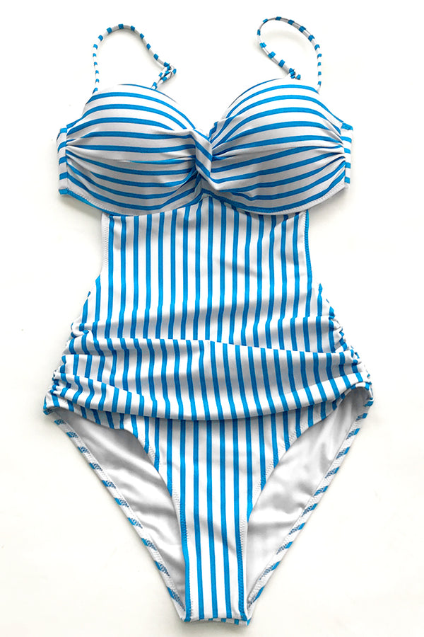 Blue And White Stripe One-piece Swimsuit