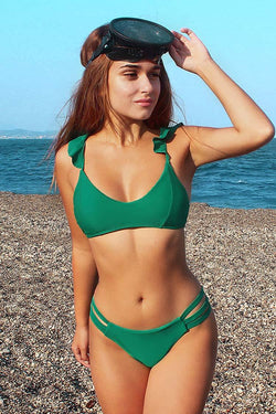 Green Ruffled Strappy Bikini