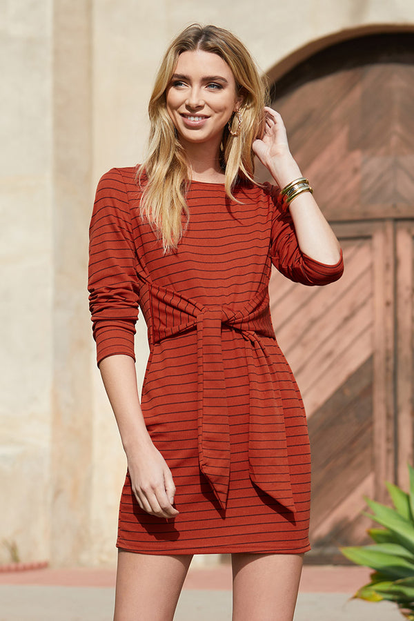 Striped Long Sleeve Short Dress