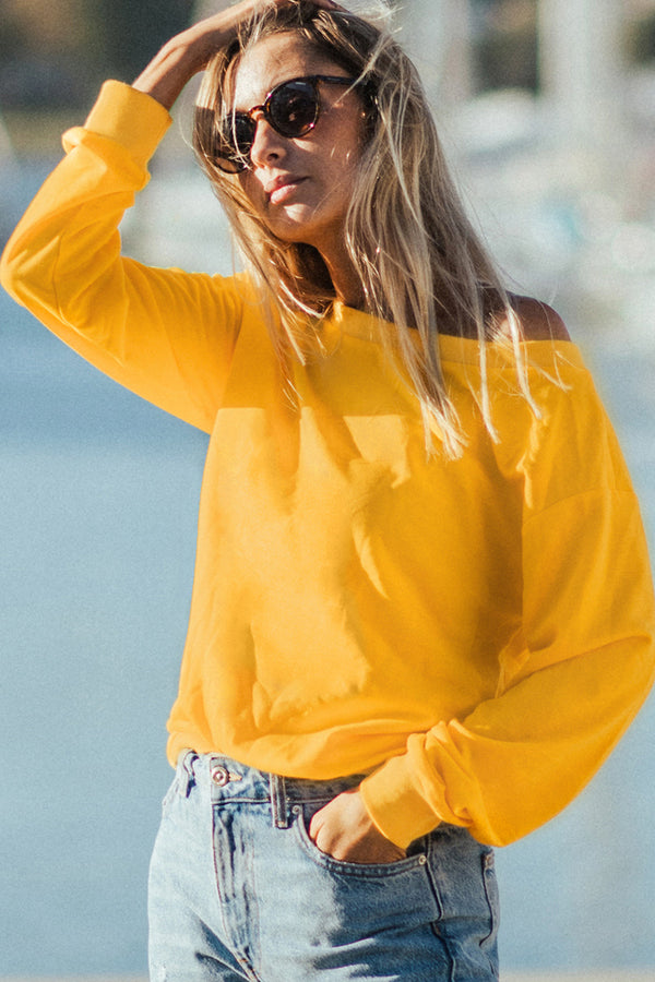 Off-the-Shoulder Cropped Sweatshirt