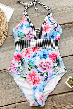 Flowers And Birds Stripe One-Piece Swimsuit