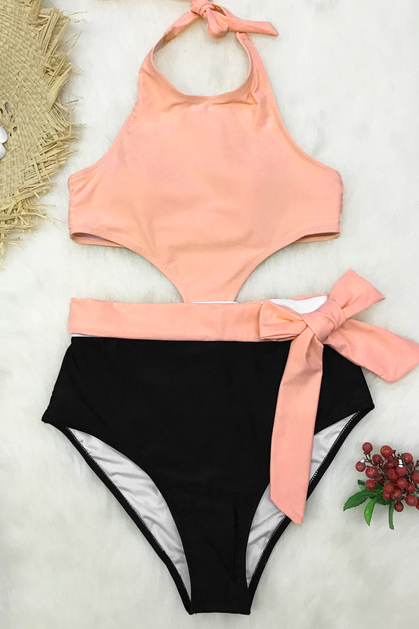 Pink Black and White Halter One-Piece Swimsuit