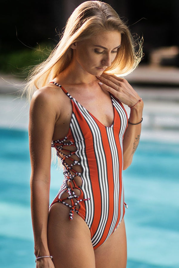 Orange and Black Stripe One-piece Swimsuit