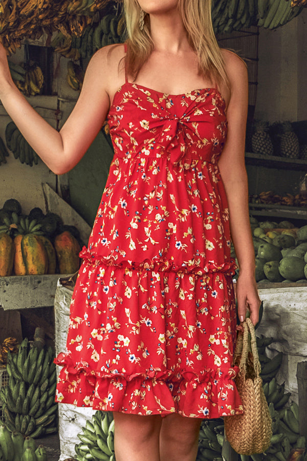 Red Ruffled Floral Slip Dress