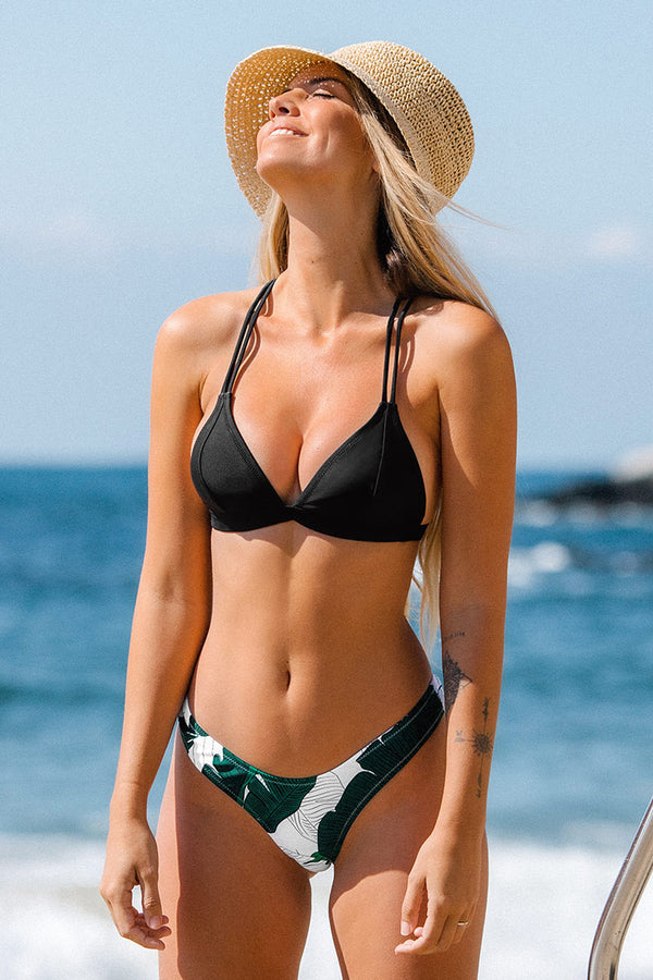 Black and Leafy T-Strap Low Rise Bikini