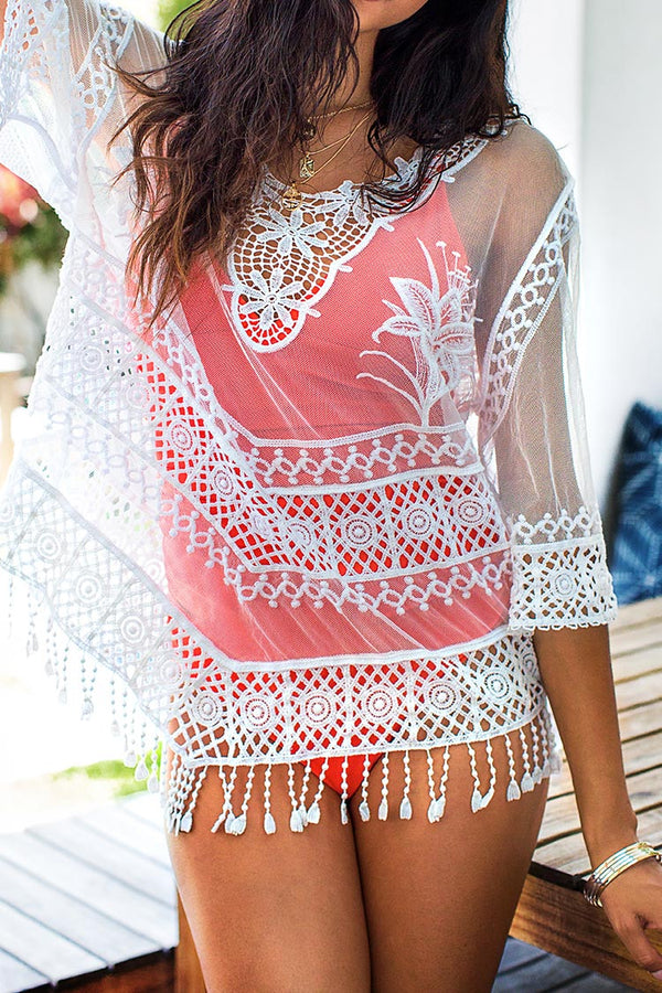 White Floral Mesh Cover Up with Lace