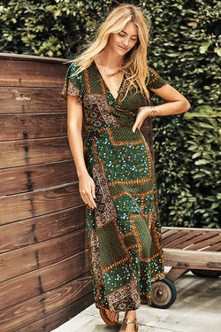 Bandana Print Maxi Wrap Dress