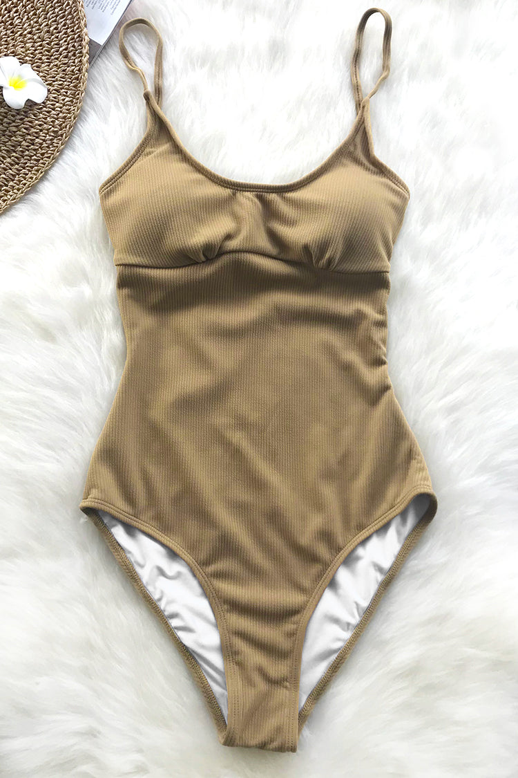 Vintage Look Solid One-piece Swimsuit