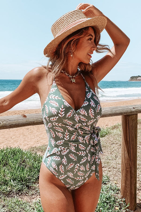 Pink and Green Leaf Print Wrap One-Piece Swimsuit