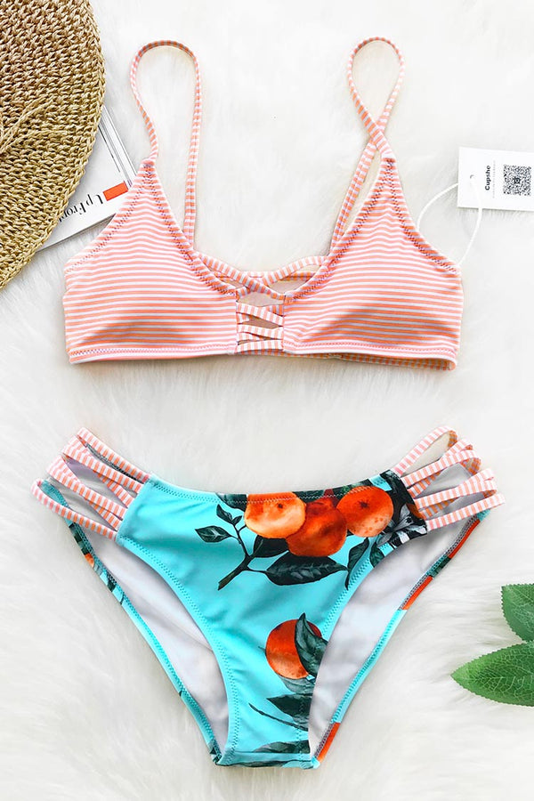 Orange Soda Print Bikini Set