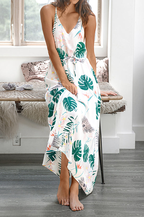 Leafy Print Long Slip Dress