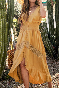 Yellow Sleeveless Front Button Dress