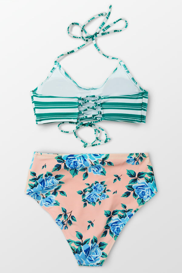 Green Striped and Floral High-Waisted Bikini