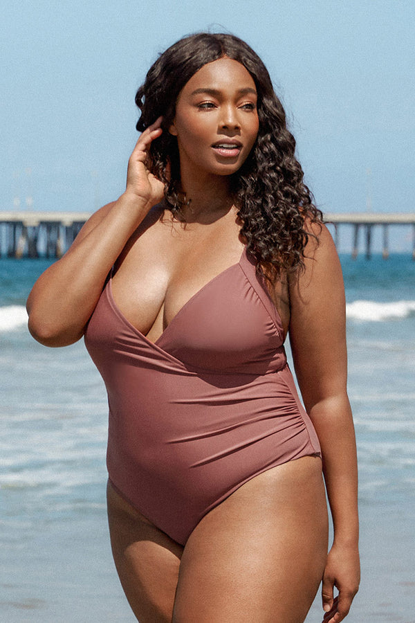 Light Coral Wrap Plus Size One Piece Swimsuit