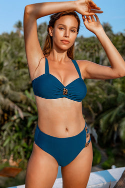 Navy Buttoned Strappy High Waisted Bikini