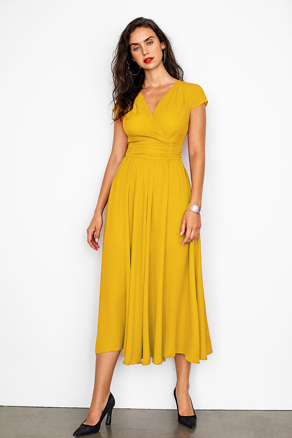 Yellow V-Neck Shirred Dress