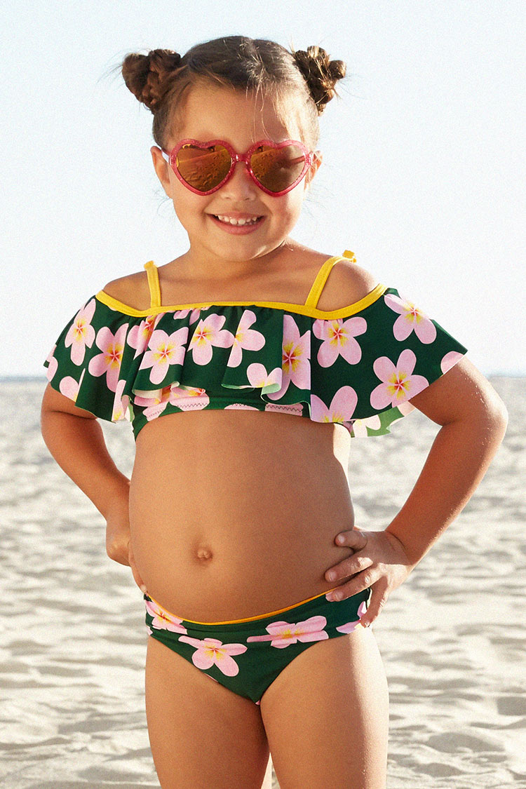 Haley Off Shoulder Ruffle Bikini For Toddler Girls And Girls