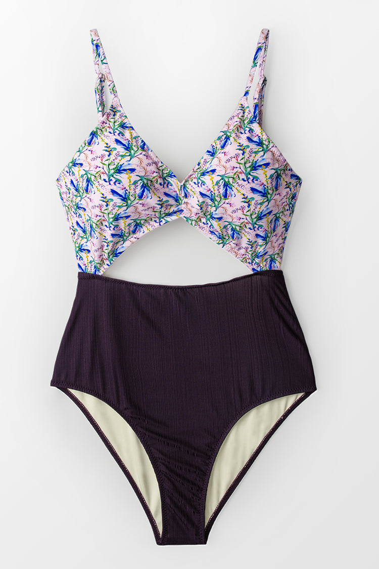 Purple Floral Cut-Out One-Piece Swimsuit