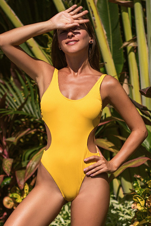 Ribbed Yellow Cut Out Scoop Back One-Piece Swimsuit