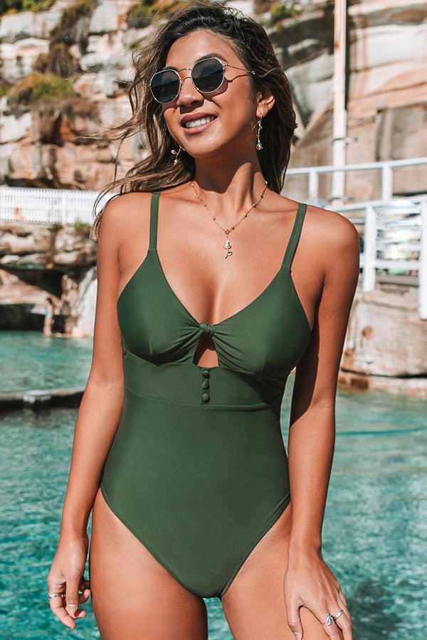 Dark Green Buttoned One-Piece Swimsuit